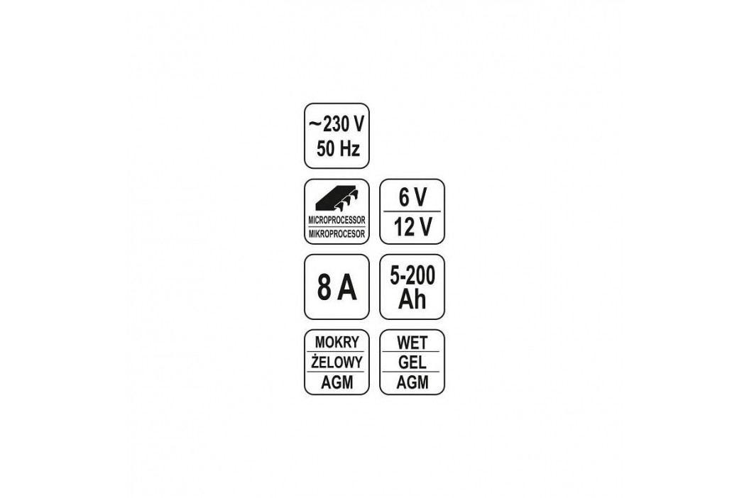 YATO 8A 6/12V gel/procesor