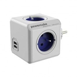 Powercube Original USB, 4x zásuvka, 2x USB biela/modrá