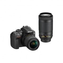 Nikon D3400 + AF-P 18-55 VR + 70-300 VR + 4x čištění čipu zdarma (VBA490K005) čierny