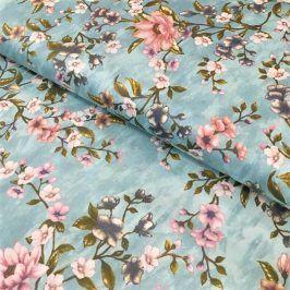 Bavlnený satén Floral blue II.trieda