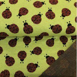 Žakárový úplet Ladybug lime