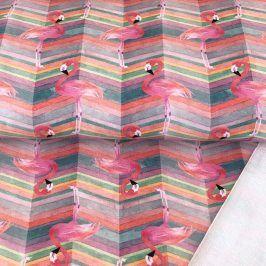 Teplákovina Flamingo stripe digital print