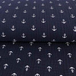 Double gauze/muslin Anchor navy/white