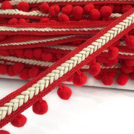 Lemovacia bambuľka Herringbone red