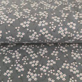 Teplákovina Modal Flowers grey