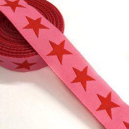Stuha Stars pink/red