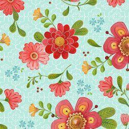 ALL A FLUTTER Floral aqua