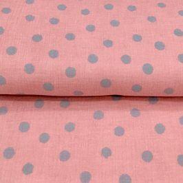 Double gauze/muslin Big dots rose/mint