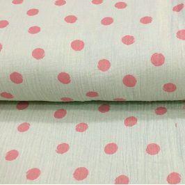 Double gauze/muslin Big dots mint/rose