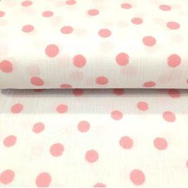 Double gauze/muslin Big dots white/rose