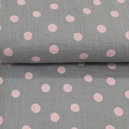 Double gauze/muslin Big dots grey/rose