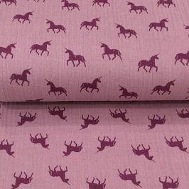 Double gauze/muslin Unicorn lilac/purple