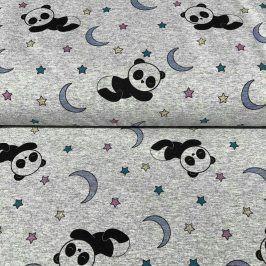 Teplákovina Magical panda grey melange