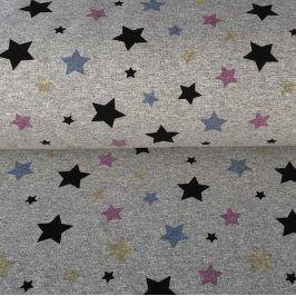 Teplákovina Magical stars grey melange
