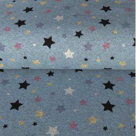 Teplákovina Magical stars blue melange