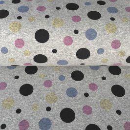 Teplákovina Magical dots grey melange