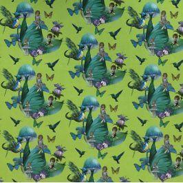 Úplet Magical forest fairies lime digital print