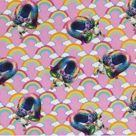 Úplet BIO Trolls Poppy rainbow digital print