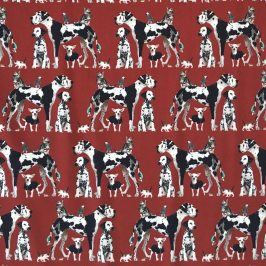 Úplet Dogs red digital print