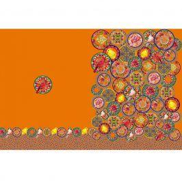 Úplet Oriental flowers orange digital print panel