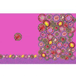 Úplet Oriental flowers fuchsia digital print panel