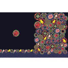 Úplet Oriental flowers navy digital print panel