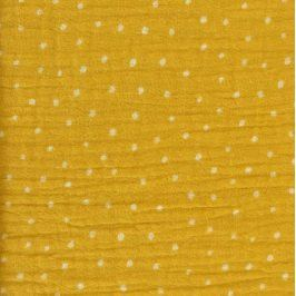 Double gauze/muslin Dots yellow/white