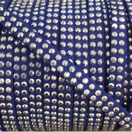 Semišová šnúra kamienky kobalt