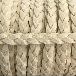 Semišová šnúra pletená off white