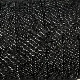 Bavlnená šnúra plochá 15 mm Denim black