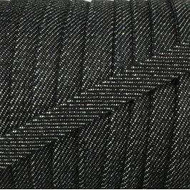 Bavlnená šnúra plochá 10 mm Denim black