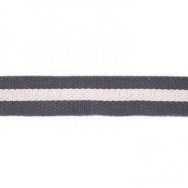 Popruh bavlna 4 cm Pásik sivá