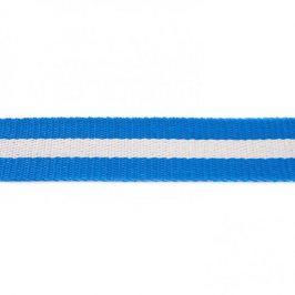Popruh bavlna 4 cm Pásik modrá