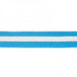 Popruh bavlna 4 cm Pásik aqua