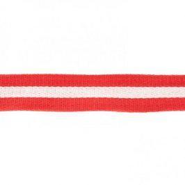 Popruh bavlna 4 cm Pásik červená