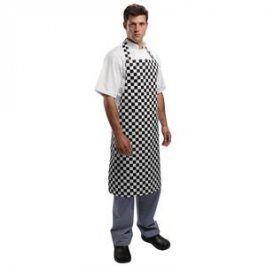 Kuchárska zástera ku krku - čierno-biela šachovnica