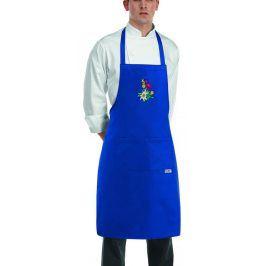 Kuchárska zástera ku krku s vreckom modrá TIROL