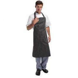 Kuchárska zástera ku krku - čierna s bielymi pásmi