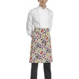 Kuchárska zástera nízka s vreckom - vzor papriky biele