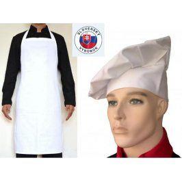 SET: Kuchárska zástera ku krku a vysoká čiapka Biela,bez vrecka a pracky