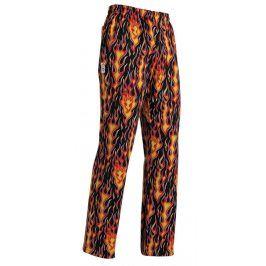 Kuchárska nohavice pre DETI - 2 vzory plamene,XS