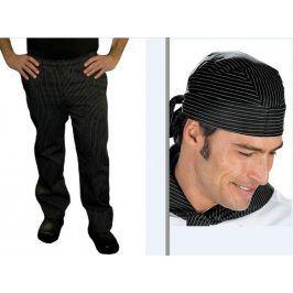 SET: Nohavice a šatka na hlavu - jemné biele pásy S