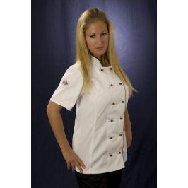 Dámsky kuchársky rondon Bella - biely s červeným lemom XS