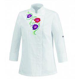 Dámsky kuchársky rondon FLOWERS - biely XS