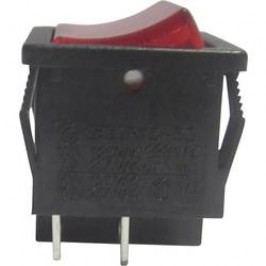 Kolískový spínač s aretáciou TRU COMPONENTS TC-R13-33B-02RT, 250 V/AC, 6 A, 1x vyp/zap, Farba svetla: červená, 1 ks