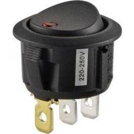 Kolískový spínač s aretáciou TRU COMPONENTS TC-R13-208B2-02 RD, 250 V/AC, 10 A, 1x vyp/zap, Farba svetla: červená, 1 ks