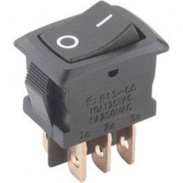 Kolískový spínač s aretáciou TRU COMPONENTS TC-R13-166PB-02, 250 V/AC, 6 A, 2x zap/zap, 1 ks