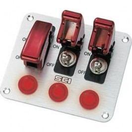 Ovládací panel pre motorové vozidlá SCI R18-P3A, 12 V/DC, 20 A, s aretáciou, 3 kolískové spínače/3 signálne svetlá, 1 ks