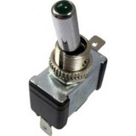 Páčkový prepínač do auta SCI R13-404-SQ GREEN, 12 V/DC, 20 A, s aretáciou, 1 ks